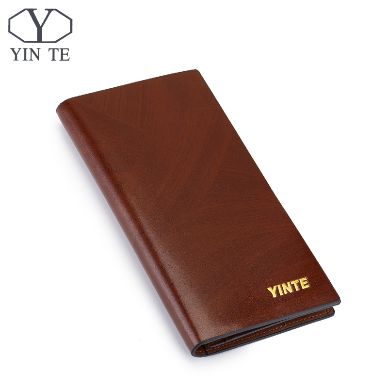 ФОТО YINTE Fashion Men Wallet Leather Business Brown Purse New Design Leather Wallet Business Men Long Wallet Portfolio T8842A