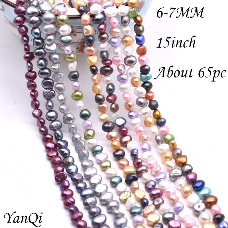 Natural Pearl Beads 6-7mm Grey Purple Multicolor Mixed Pearl DIY Making Jewelry Accessories Pearl Beads Freshwater CulturedBead