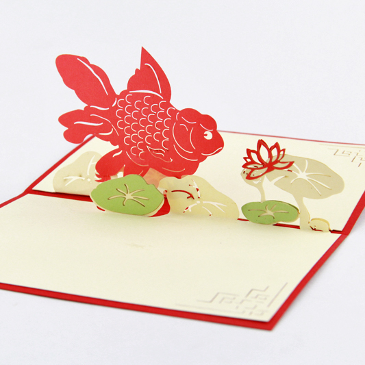 Golden fish lotus greeting card /3D  card pop up  card/ customize Free shipping creative gifts 3d pop up card greeting