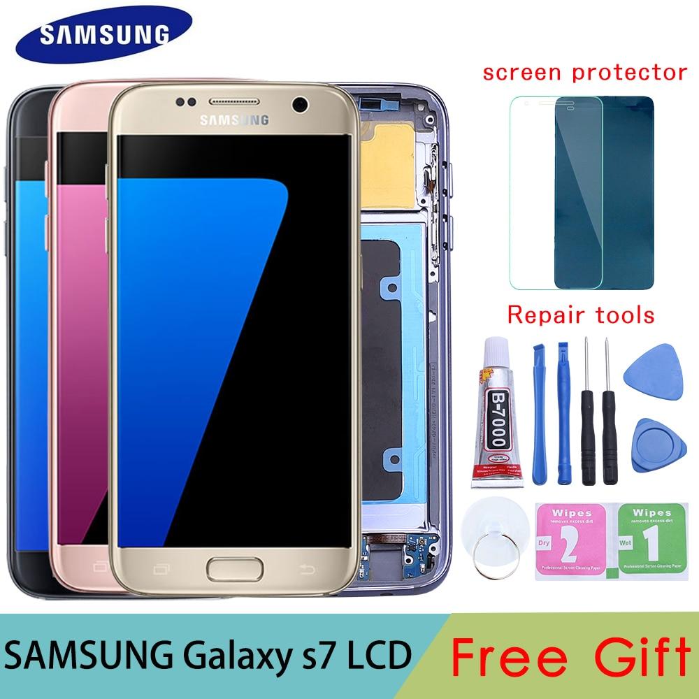 ORIGINAL 5.1 ''Tela SUPER AMOLED para SAMSUNG Galaxy G930 G930F S7 LCD Digitador Da Tela de Toque com a Substituição do Quadro Peças