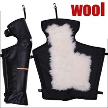 Leather Motorcycle knee warm wool sheepskin knee electric car and bike thick winter Leggings