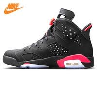 Nike Air Jordan 6 черный инфракрасный AJ6 Для мужчин Баскетбольная обувь, черный и красный, амортизация противоскользящие Поддержка Balance 384664 023