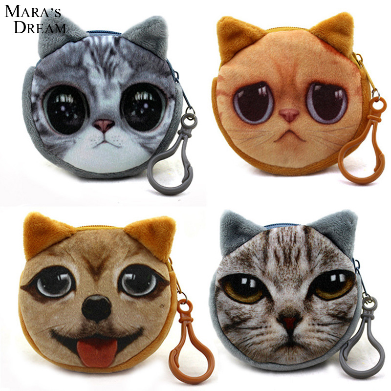 Mara's Dream 2017 Coin Purses Wallet Ladies 3D Printing Cats Animal Big Face Change Cute Small Zipper Bag for Women 8*7.5 cm 2015new ladies coin purses wallet 3d printing dog cat animal big face change fashion cute small zipper bag women