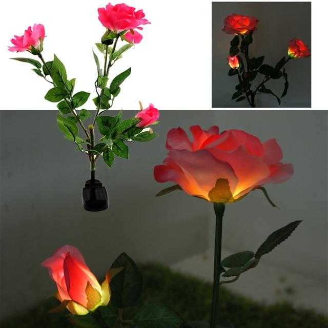 Solar Ed Energy Saving 3 Led Rose Flower Stake Garden Yard Decor Light Landscape Patio Decoration