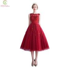 Robe De Soirée SSYFashion Wine Laço Vermelho Bordado vestido Sem Mangas A Linha de Vestidos de Noite Banquete Elegante Festa Formal do baile de Finalistas do Vestido(China (Mainland))