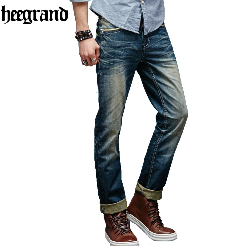 HEE GRAND 2017 New Arrival Men Fashion High Quality Straight Washing Archaize Jeans MKN530 hee grand men classic jeans 2017 new arrival straight design high elasticity slim fitted demin trousers plus size 28 42 mkn984