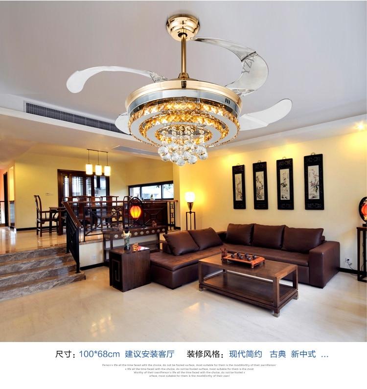 Gold Stealth Ceiling Fan Light Minimalism Modern Crystal LED Lamp Fans Living Room Dining Bedroom Lights