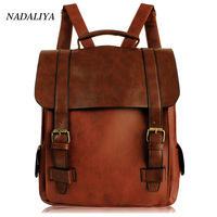 2017 Fashion Women Fashion Backpacks Vintage Leather School Backpack Retro Small Lady Schoolbag Mochila Brown Black