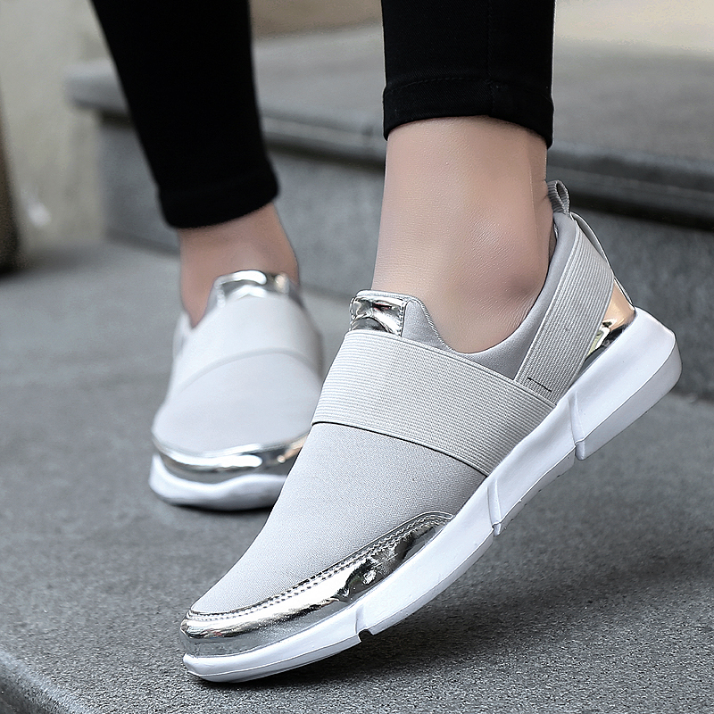 Spring Women Flats Casual Shoes Breathable Slip On Loafers Ladies Stretch Fabric Walking Shoes Women Outdoor Mesh Sneakers 2019Spring Women Flats Casual Shoes Breathable Slip On Loafers Ladies Stretch Fabric Walking Shoes Women Outdoor Mesh Sneakers 2019