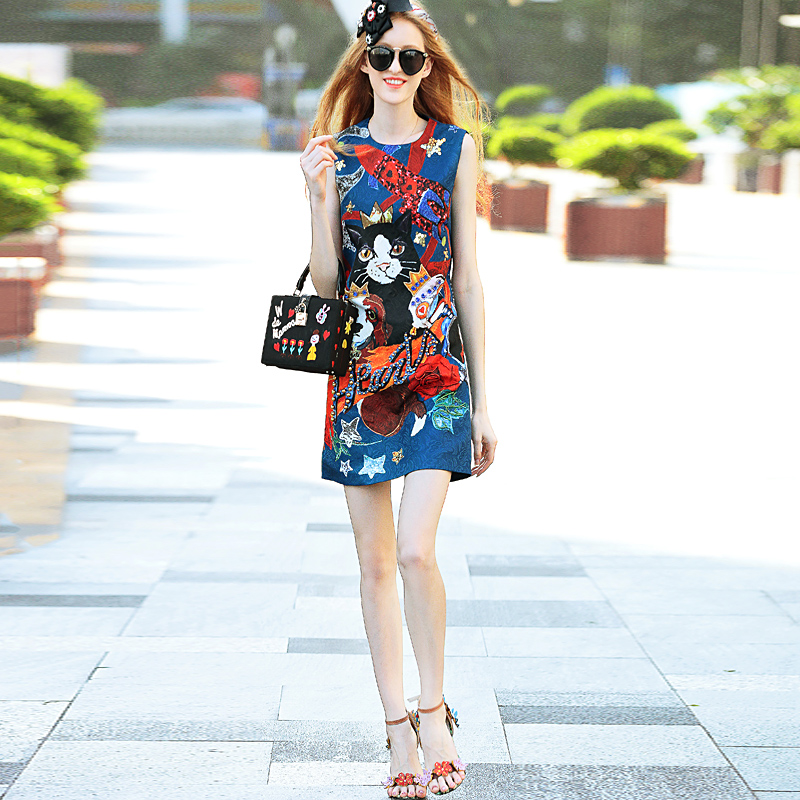 Milan Catwalk Designer High Quality 2018 Spring Summer New Women Beach Party Vintage Elegant Print Cat Sleeveless Vest Dresses