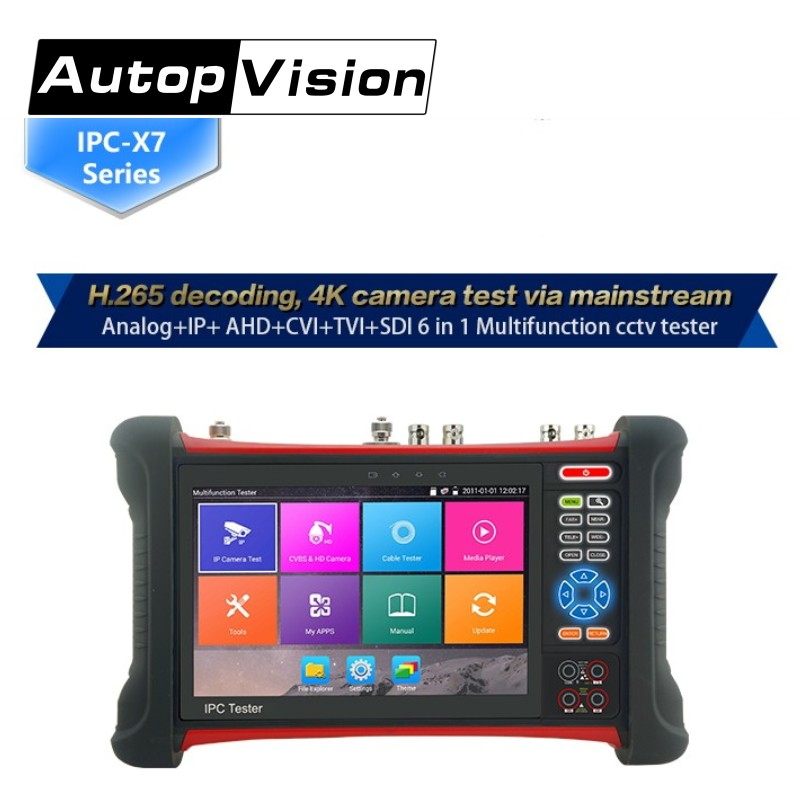 free shipping IPC-X7 IP Camera tester 7inch touch screen CCTV tester support IP+Analog+AHD+CVI+TVI+SDI with Multi-meter Cable ips touch screen cvbs ahd dahua cvi tvi sdi ip cameras analog cctv camera tester