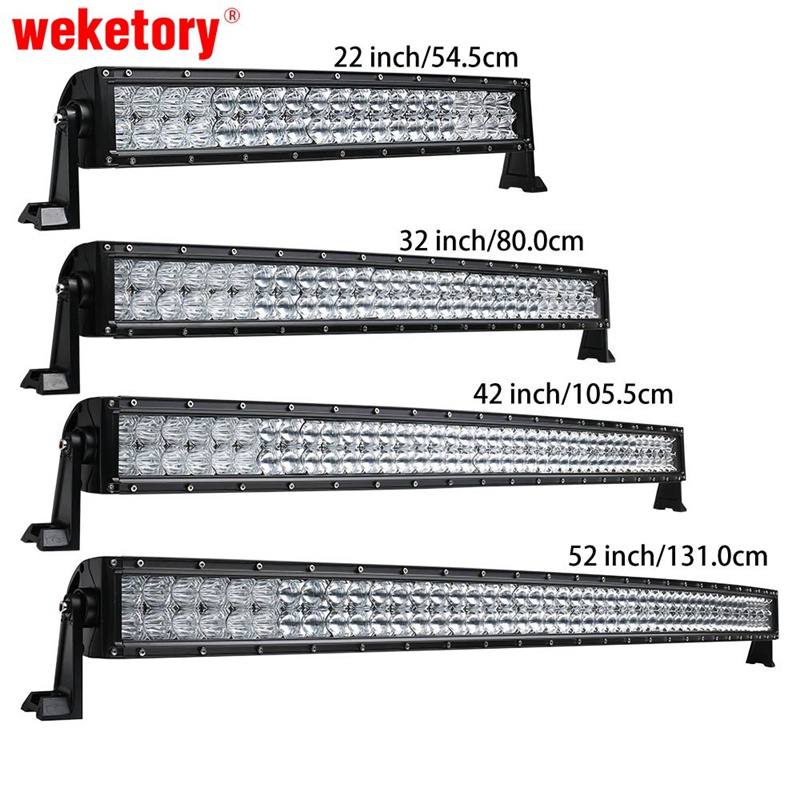 weketory 5D 22 32 42 52 inch 200W 300W 400W 500W Curved LED Work Light Bar for Tractor Boat OffRoad 4WD 4x4 Car Truck SUV ATV