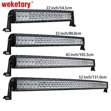 weketory 5D 22 32 42 52 inch 200W 300W 400W 500W Curved LED Work Light Bar for Tractor Boat OffRoad 4WD 4×4 Car Truck SUV ATV