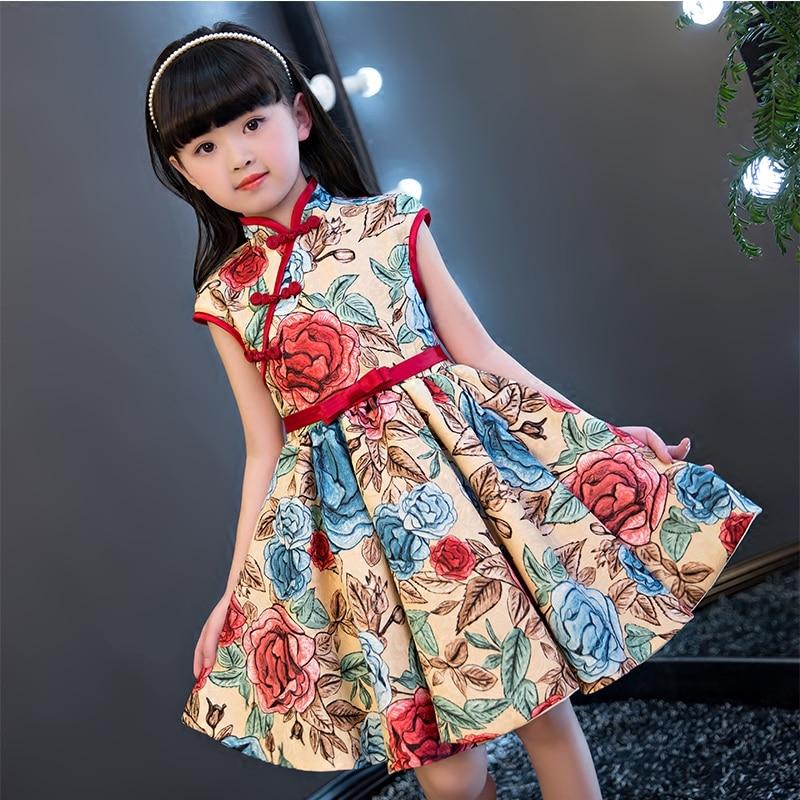 NEW 2017 Children Style Children Girls Qipao Summer Dress Luxury Printed Flowers Kids birthday Party Cheongsam Dress For 5~13yrs 2017 new children
