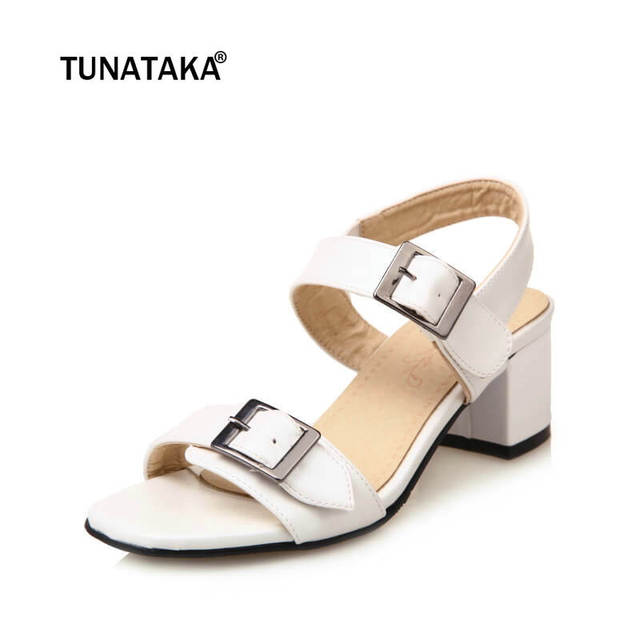 6b6cd07ddc Ladies Low Heel Sandals Fashion Buckle Casual Comfortable Summer Woman Shoes  White Brown