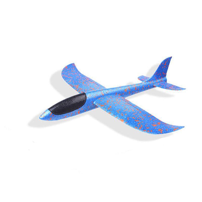 DIY детские игрушки ручной бросок Летающий планер самолеты пенопластовый самолет модель партии мешок наполнители Летающий планер самолет игрушки для детской игры - Цвет: Blue 35CM