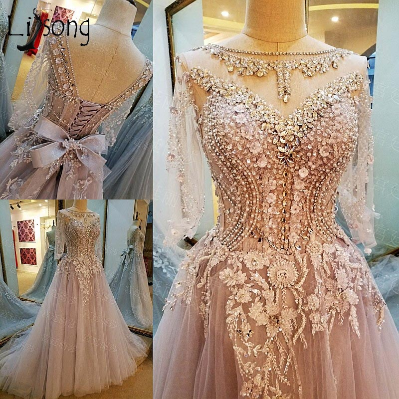 Abendkleider Crystal 3D Flower Long Evening Dresses Lace Half Sleeves A line Bow Pearls Evening Gowns