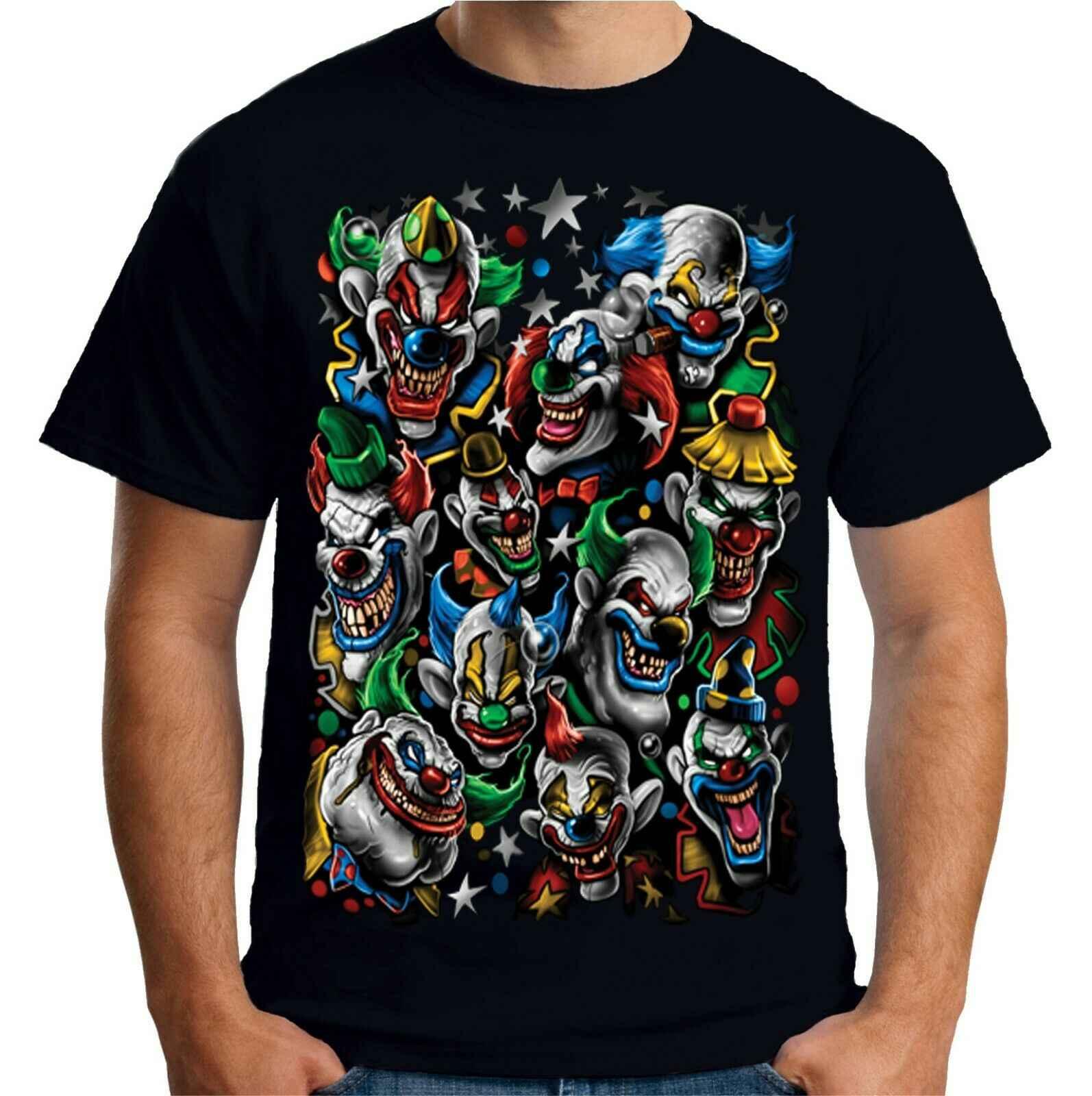 Мужские футболки с принтом злой клоуны Футболка Джокер цирк пугающий гот готический клоун A11247 дешевые оптовые футболки, Подарочная Футболка с принтом