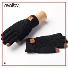 Realby Для Мужчин's Зимние перчатки Теплые наручные сенсорный Экран перчатки Luvas de Inverno мужской mitaine hommethermal Теплые черные Прихватки для мангала варежки