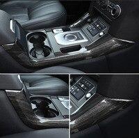 For Land Rover Discovery 4 LR4 Accessories ABS drak Wood Grain Chrome Center Console Sequins Molding Trim 2pcs/set