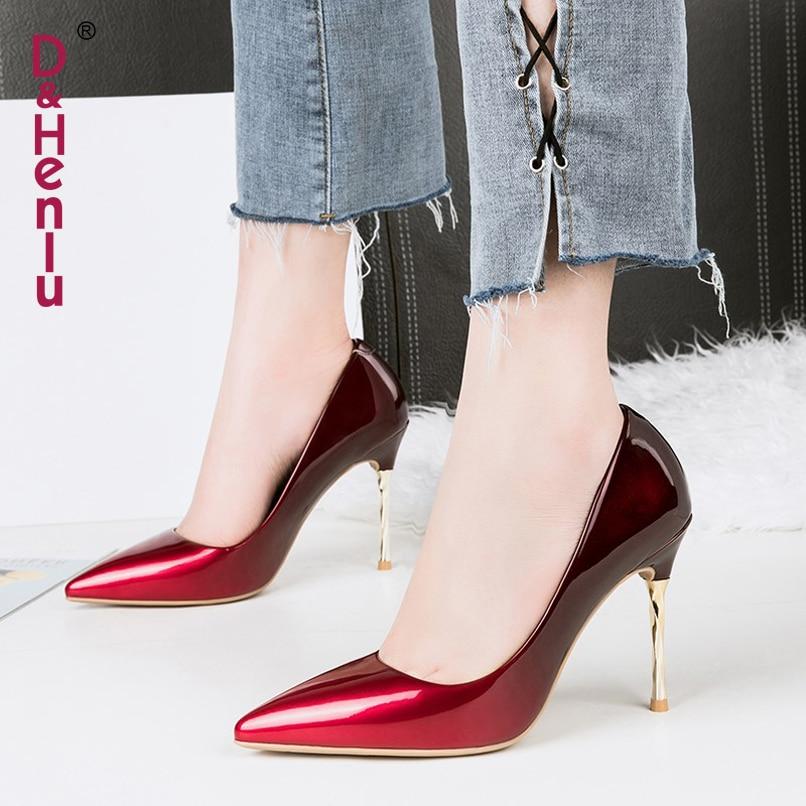 Mujer Fiesta Sexy rojo De Bombas Henlu} Tacones Zapatos Stiletto Gradiente Metal {d amp; Negro Altos plata Las Mujeres azul Tacón Color Fetiche Fx07fwq