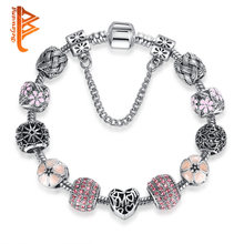 BELAWANG European Charms Beads Bracelets&Bangles With Safety Chain Antique Silver Heart Bracelet For Women Friendship Jewelry(China)