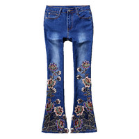 Embroidered flares flare pants women fashion slim denim 2019 new arrival