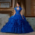 2017 vestido de Baile Azul Royal Vestidos Quinceanera com Jacket Querida Beads Ruffles Red Pageant Prom Vestido CR-72
