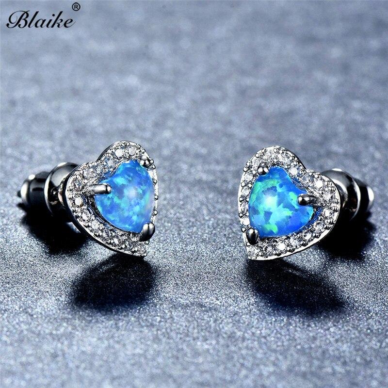 Blaike 925 Sterling Silver Filled Blue Fire Heart Opal Stud Earrings For  Women Fashion Jewelry Charming Birthstone Earrings Gift-in Stud Earrings  from ... c70278488e72