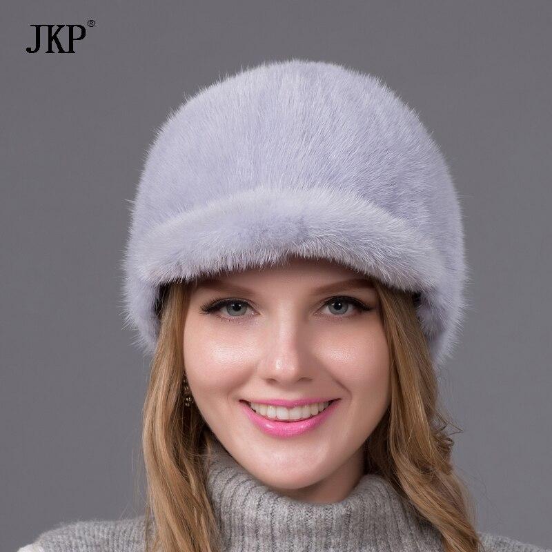 100% Իրական ամբողջ մորթուց Mink Fur Caps Visors - Հագուստի պարագաներ - Լուսանկար 3