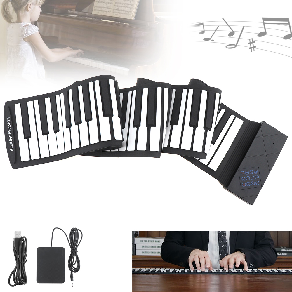 88 Keys Portable USB MIDI Roll Up Piano Electronic Silicone Flexible Keyboard Organ with Sustain Pedal