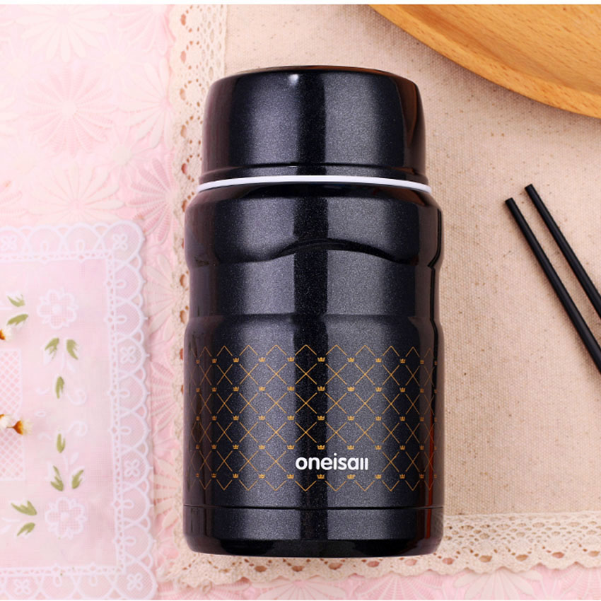 Creative Mini Portable Stainless Steel Thermos Bottle 500ml Student Children Stewed Pot Insulation Cup Lunch Pail
