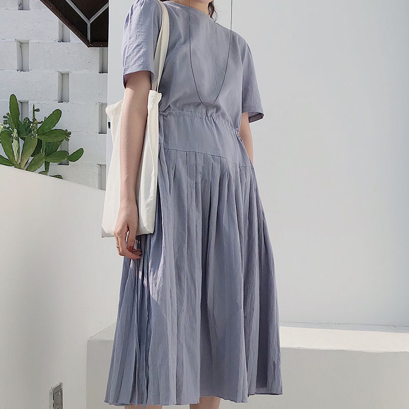 Comfortable Summer Long tshirt Dress Short Sleeve woman solid Lady Dress good Quality Casual O-Neck Fashion maxi Dresses loose