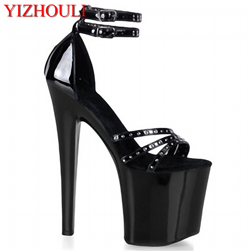 Classic Black 20cm Open Toe Sandals Super High Heel Platform Pole Dance shoes Gorgeous punk 8 inch sexy rivet cover heel sandals 7 inch high heel sandals fashion women dress sexy shoes gossip girl like gorgeous rivets slippers platform dance shoes black
