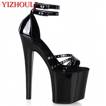 Classic Black 20cm Open Toe Sandals Super High Heel Platform Pole Dance shoes Gorgeous punk 8 inch sexy rivet cover heel sandals