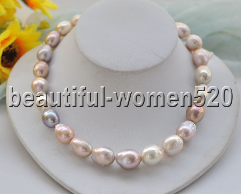 Z8870 Huge 20mm Pink Lavender Teardrop Keshi Edison Pearl Necklace Rose 17inch