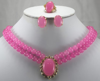 Hot selling@>wholesale noble pink Natural stone ring(#7.8.9), stud earrings and 18 necklace with pendant jewelry set