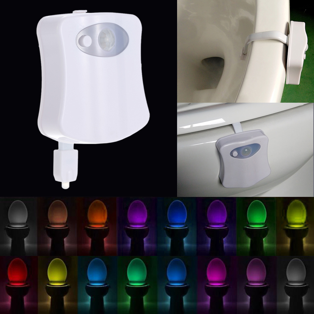 Automatic light sensor for bathroom - Aliexpress Com Buy Sensor Toilet Light 8 16 Color Led Battery Operated Lamp Lamparas Human Motion Activated Pir Automatic Rgb Led Toilet Nightlight From