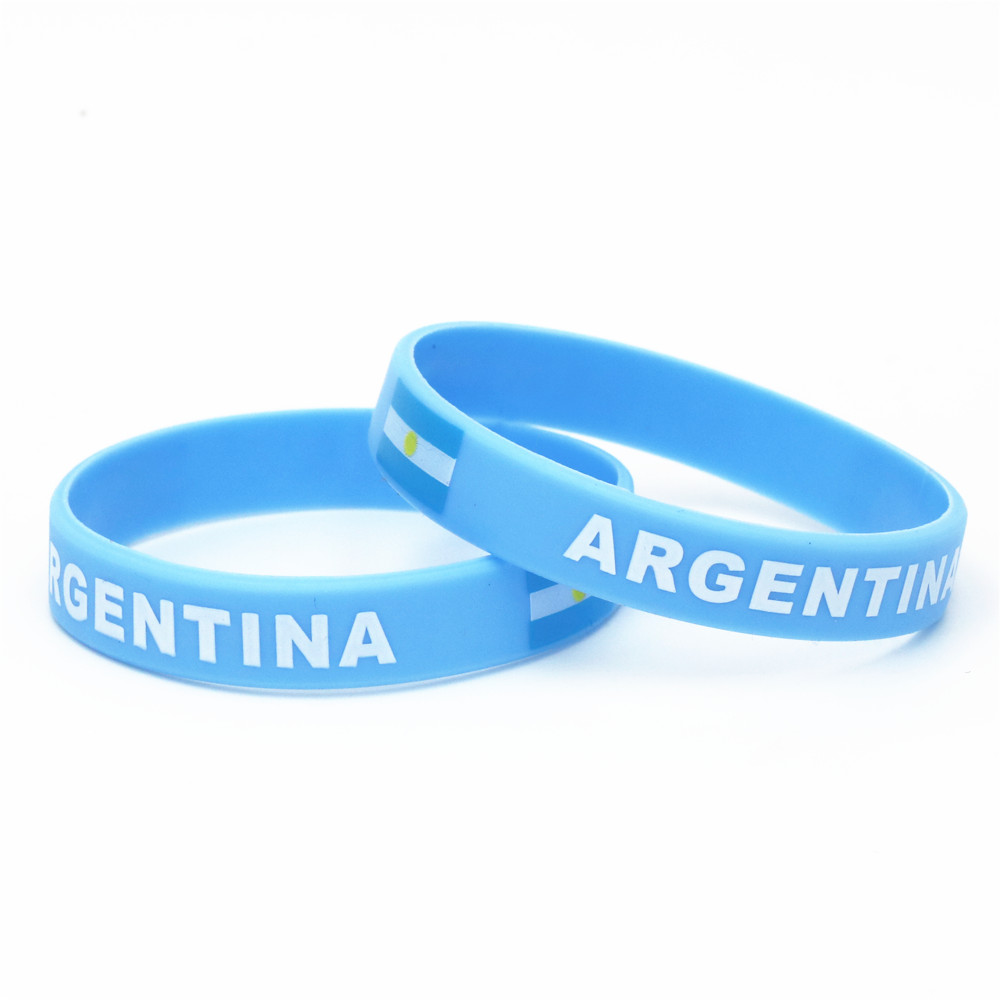1PC Blue Argentina Flag Soccer Sport Wristband Blue White Football Teams Silicone Rubber Bracelets&Bangles Souvenir 2018 SH231