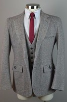 2018 Winter Light Grey Tweed Men Suit Groom Wedding Suits Slim Fit 3 Piece Tuxedo Tailored Prom Blazer Ternos Jacket+Pant+Vest