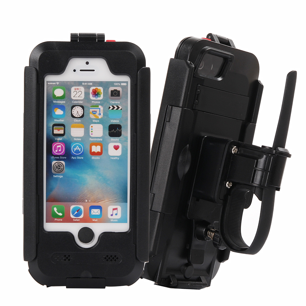 Luxury Waterproof Universal Motorcycle Bike Bicycle Handlebar Holder Stand Armor Outdoor Phone Case For <font><b>iPhone</b></font> 5s 5 SE Drop Ship