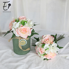 Erxiaobao 1 Piece Pink White Red Rose Artificial Flowers Wedding Bridal Bouquet Silk Fake Faux Flower Home Decoration