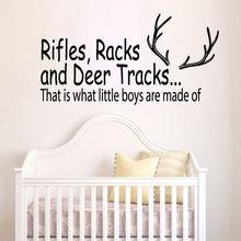 Wall Decal Quote Deer Tracks Hunting Vinyl Sticker Boys Room Nursery Art Decor Home Design Animal Poster AY389