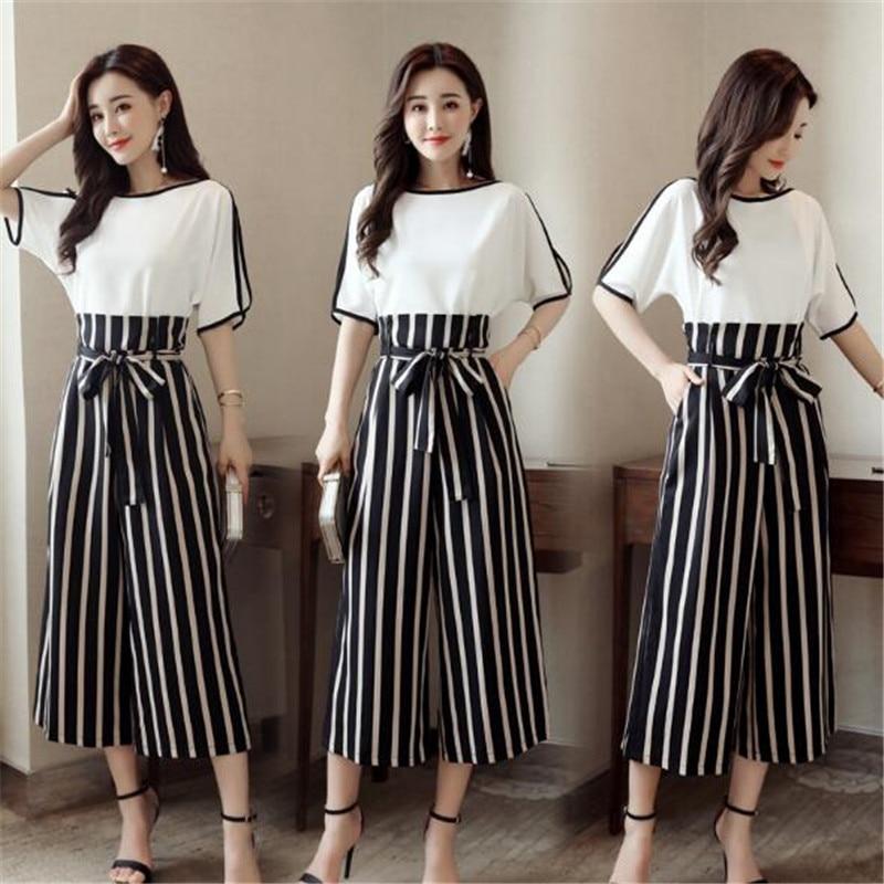 High Quality Women 2 Piece Striped Pant Set 2018 Summer Fashion Short Sleeve Blouse Tops / Ankle-Length Pants Suit Female K0240 5