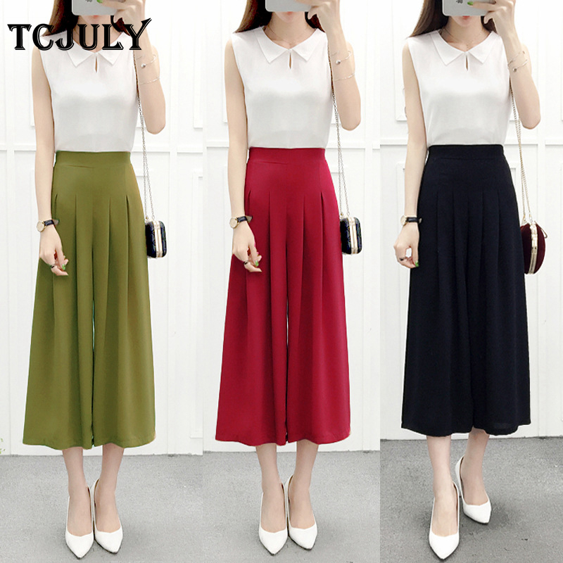TCJULY Korean Fashion Solid Chiffon   Wide     Leg     Pants   Loose Casual Pleated Woman High Waist   Pants   Plus Size Stretch Summer Trousers