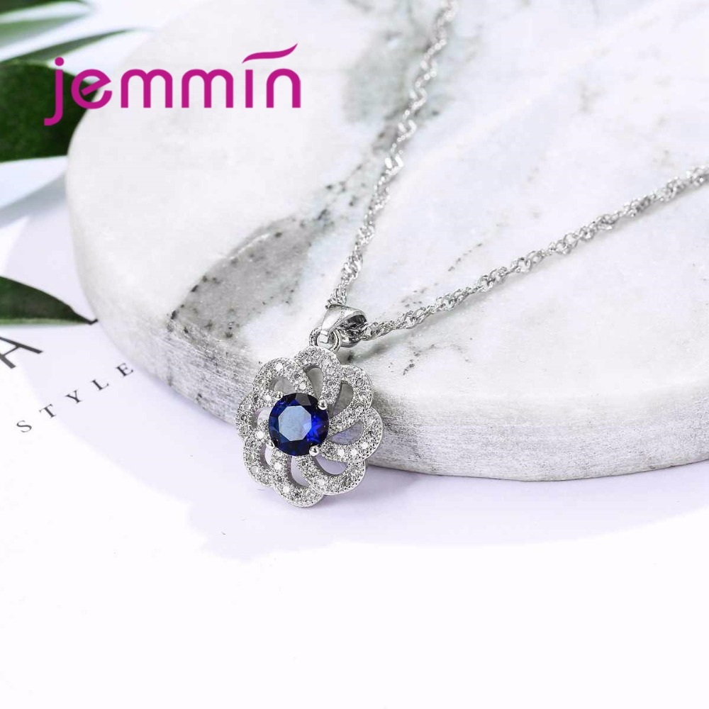 Vintage Blue Austrian Crystal Pendant Necklace Earrings Set For Women Accessory Fine 925 Sterling Silver Jewelry Sets in Jewelry Sets from Jewelry Accessories