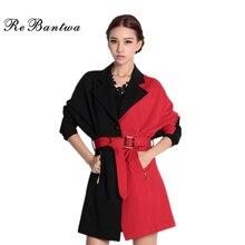 Rebantwa Red Black Patchwork Blazer Women 2016 Plus Size Single Button Autumn Women Blazers And Jackets Causal Outwear With Belt