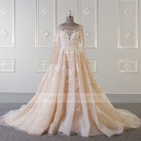 Cazdzy flower beading A line bridal dress with long sleeve illusion backless lace up