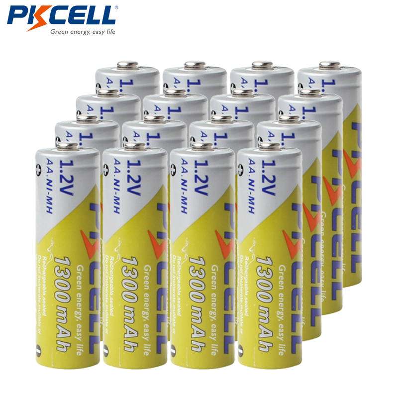 16pcs/lot PKCELL AA NiMH Rechargeable Battery 1300mAh 1.2V Ni-MH 2A Accumulator Battery Batteries image