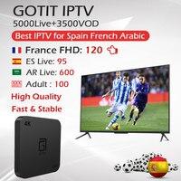 Best Spain French Arabic IPTV KING IPTV+Adult+GOTIT S905 Android TV Box Amlogic S905W Quad Core 2G/16G 4K HDMI 2.0 Set Top Box